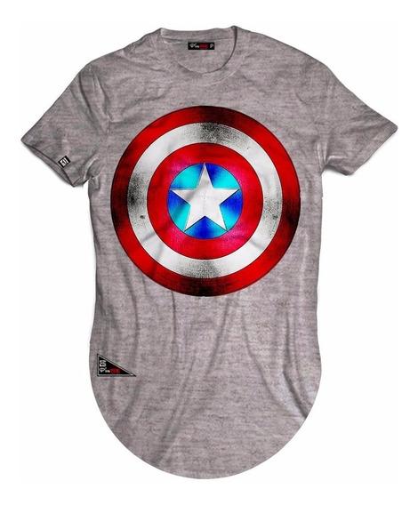 Camiseta Marvel Longline Capitão America Escudo Vingadores