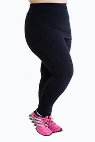 22150f457 Calça Legging Com Saia Tapa Bumbum Plus Size Fitness