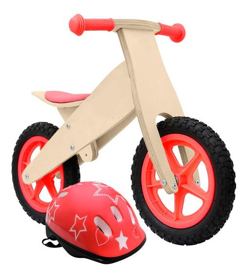 Kit Bici De Madera Inicio + Casco Chicos Gadnic Niños Gtia