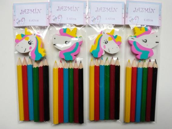 Souvenirs Unicornios: 6 Lapices Cortos Color + Goma X 10 Set