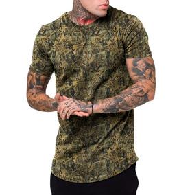 Camiseta Camisa Masculina Long Line Estampada Grafit Fashion