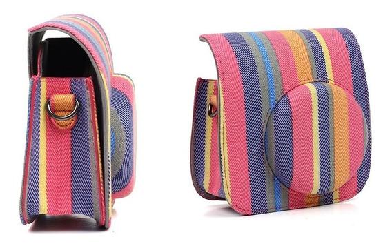 Bolsa De Tecido Colorida Listrada Alça - Câmera Instax Mini