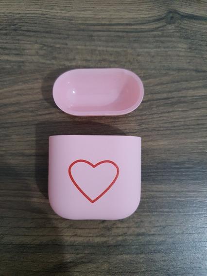 Case Capa Cor De Rosa Logo De Coração Para Apple AirPods