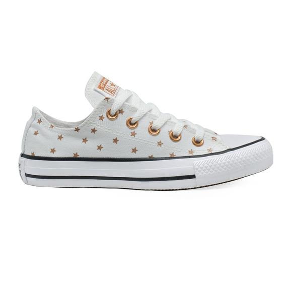 Tênis Converse All Star Estrela Branco Ouro Escuro Original