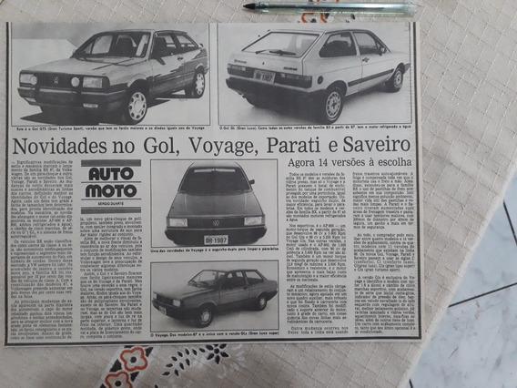 Recorte Jornal Matéria Novidade Gol Voyage Parati Saveiro 87