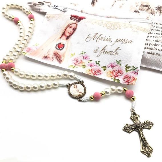 Terço Catolico Maria Passa Frente Floral Bolsinha Lançamento