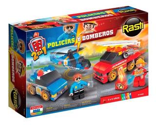 Rasti Bloques Ladrillos 130 Piezas Policias Y Bomberos 2en1