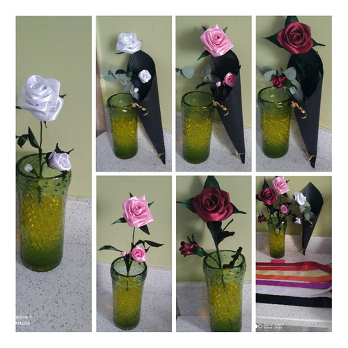 Imagen 1 de 1 de Flores Hechas De Cinta De Razo De Diferentes Colores