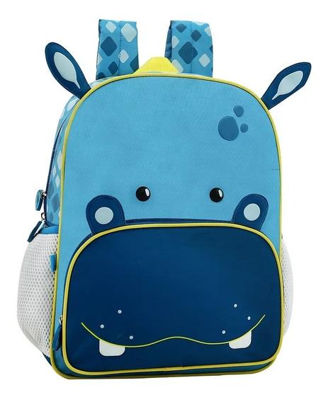 Mochila Infantil Azul Sem Rodinha Bichinho Zoo Hipopótamo