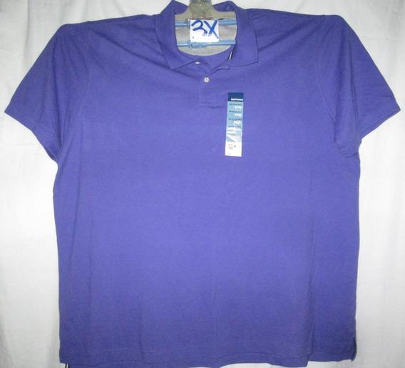 Camiseta Morada Tipo Polo De Hombre Talla 3x Basic Edition