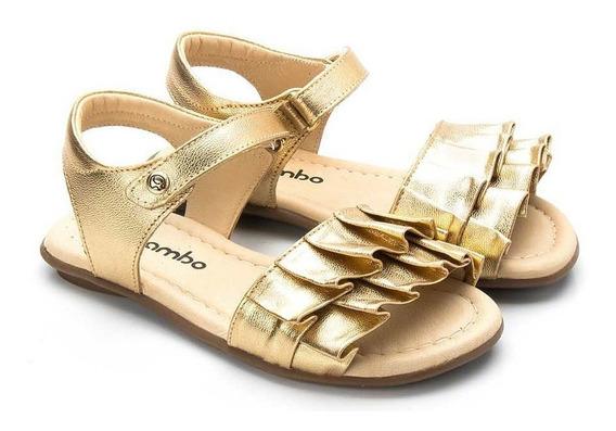 Sandália Gambo Franja Dourada