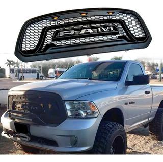 Parrilla Dodge Ram 1500 Negro Letra Gris Luz Led Ambar 13-18