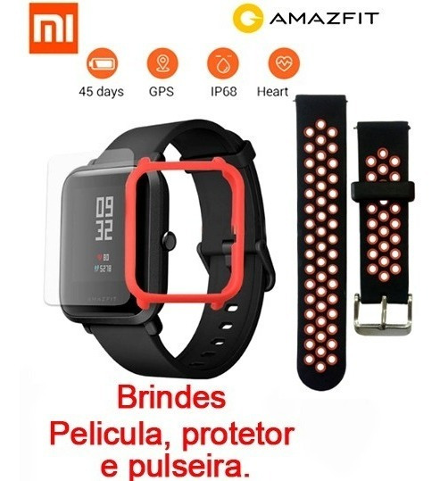 Relógio Amazfit Bip Xiaomi Global + Protetor + Pulseira +pel