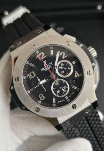 Relógio Masculino Hublo Prata Mostrador Preto