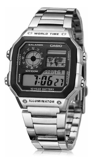 Relogio Original Ae 1200whd Aço Crono 5alarm Wr100m Promocao