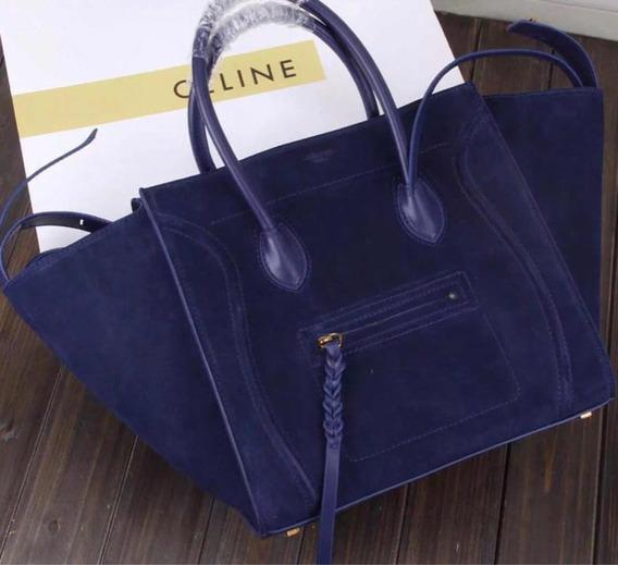 Bolsa Celine Phantom Azul Suede Novo Original