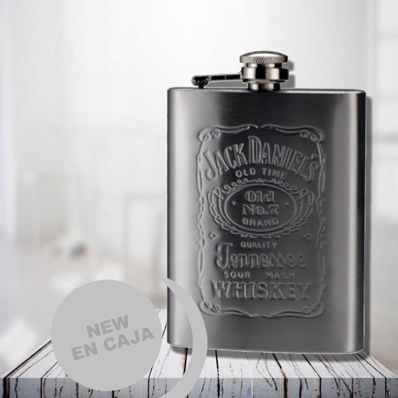 Petaca De Acero Tapa A Rosca Caja Whisky Jack Daniels