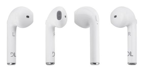 Fone De Ouvido Bluetooth Estereo In Ear Duplo Branco Dl