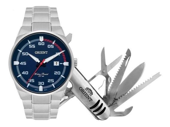Relógio Orient Masculino Prata Calendário Azul