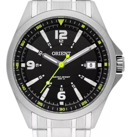 Relógio Orient Masculino Prata Fundo Preto-mbss1270-promoção