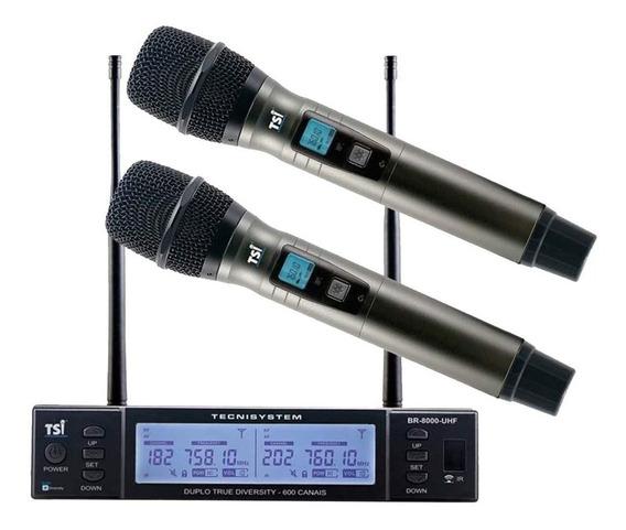 Microfone Tsi Br8000 Uhf Duplo Sem Fio 600canais + Espumas