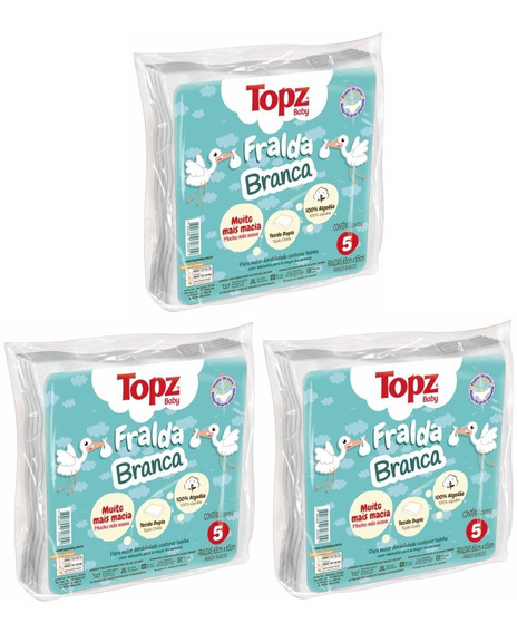 Kit Com 3 Pacotes De Fraldas De Pano Basica Topz Baby Cremer