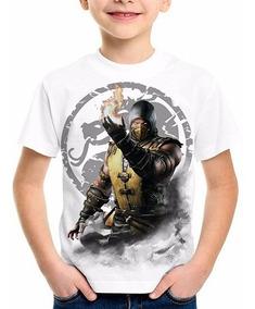 Camiseta Infantil Mortal Kombat X Scorpion Sub Zero Millena