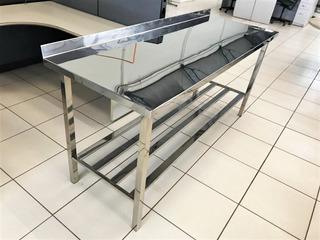 Mesa Bancada Aço Inox 190x65x90 Com Espelho Reforçada Qualidade Superior E Nfe