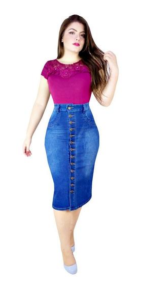 Saia Moda Evangélica Jeans Com Elastano Botões Frente Laura