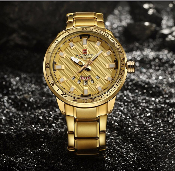 Relógio Masculino Naviforce Dourado / Prata Importado Luxo