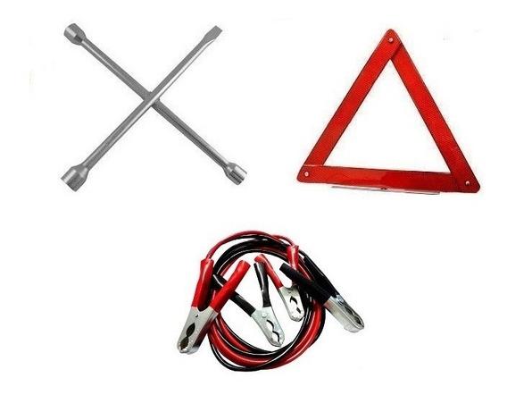 Kit Segurança Veículos Cabo Bateria + Chave Roda + Triangulo