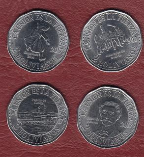 Colección 4 Monedas Bolivia Conmemorativas 2 Boliviano (c85)