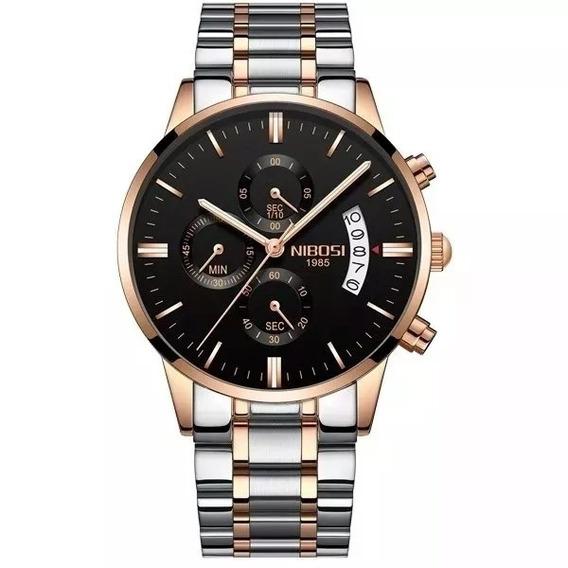 Promoção Relógio Masculino Nibosi Prata/bronze +frete Grátis