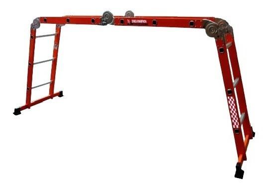 Escalera Multiposiciones Acero/aluminio Naranja 3.54 Mts