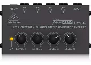 Distribuidor Amplificador De Auriculares 4ch Behringer Ha400