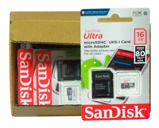 Cartão De Memoria 16 Gb Sandisk Ultra Lote Com 10 Unidades