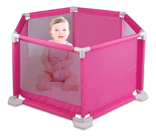 Imagem 1 de 2 de Cercado Para Bebê Proteção Conforto Segurança Braskit Rosa