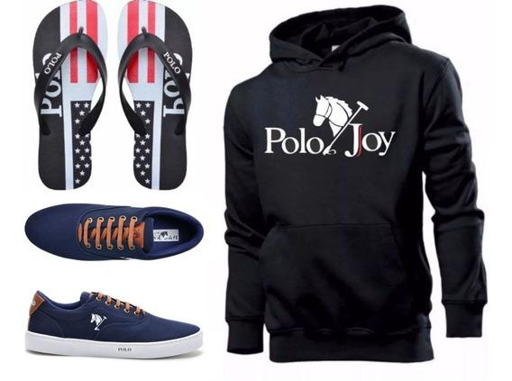 Tenis Masculino + Chinelo + Moletom Envio Já Polo Joy