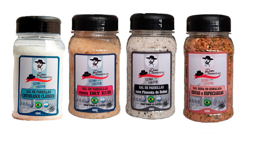 Kit Sal De Parrilla Clas.+dry Rub+pimenta/reino+sal Rosa Him