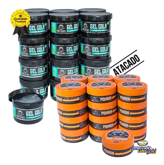 Combo 9 Pomadas 120g + 12 Gel Cola Fox For Men Atacado