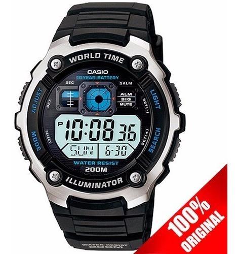 Reloj Casio Caballero Ae2000 Caucho Cristal Mineral Sumergible Original