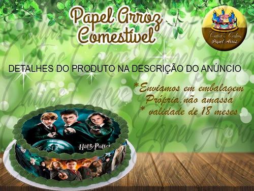 Imagem 1 de 1 de Papel De Arroz E Faixa Para Bolo Redondo Harry Potter