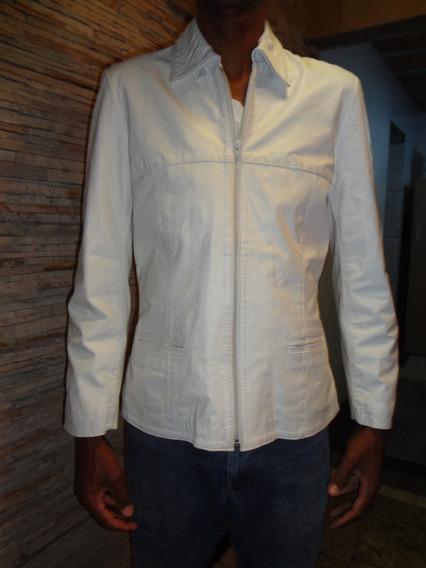 Jaqueta Em Couro Original Branca. Loja 53