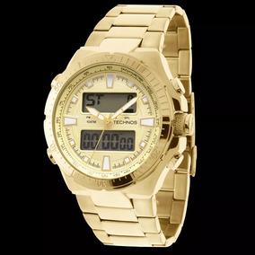 Relogio Technos 0527ab/4x Alarm Crono Data Dourado Ostentaçã
