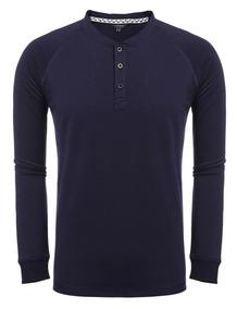 Hombres Nuevos Moda Casual Botones Broche Camiseta Básica D