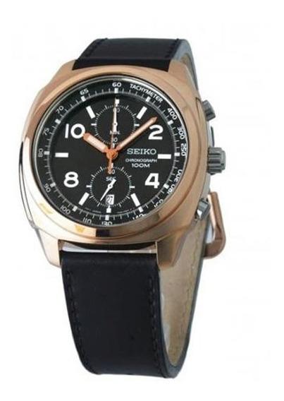 Reloj Seiko Snn211 Cronografo Cuero 100m Malla De Cuero
