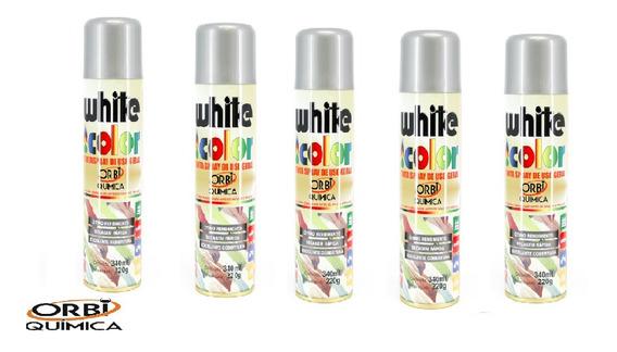 Kit 5 Tinta Spray Alumínio White Color Orbi Química 340ml