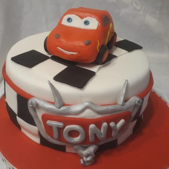 Adorno Para Torta Porcelana Fría Rayo Mcqueen Cumpleaños Nen