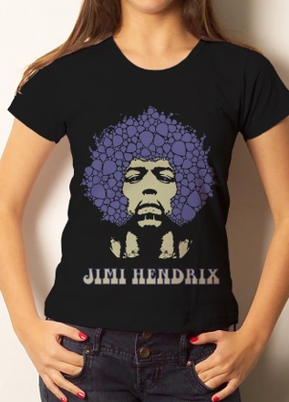 Camiseta Camisa Baby Look Jimi Hendrix - 100% Algodão