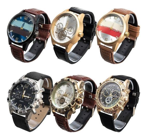 Kit Com 10 Relógios Masculino Pulseira De Couro Atacado